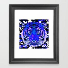 camouflage tiger on blue Framed Art Print