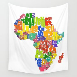 African Continent Cloud Map Wall Tapestry