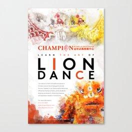 champion wushu lion dance Canvas Print