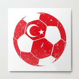 Turkey Soccer  TShirt Football Shirt Football Player Gift Idea  Metal Print