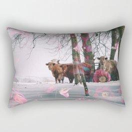 Snowy Cows Rectangular Pillow