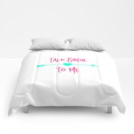 Talk Birdie To Me Golf Driving Range Quote Comforters