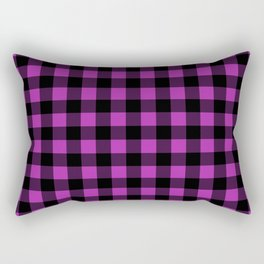 Plaid (Black & Purple Pattern) Rectangular Pillow