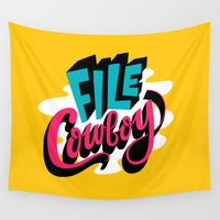 cowboy Wall Tapestries featuring File Cowboy by Chris Piascik