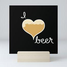 I love Beer white text Mini Art Print