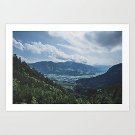 Beautiful austrian town between the mountains Art Print