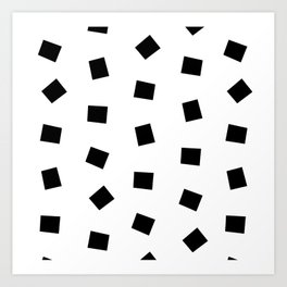 Linocut black and white square geometric pattern minimal basic art Art Print