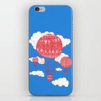 hot air balloon iPhone & iPod Skins featuring Hot Air Balloon by lush tart