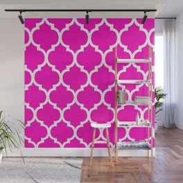 MOROCCAN PINK AND WHITE PATTERN Wall Mural