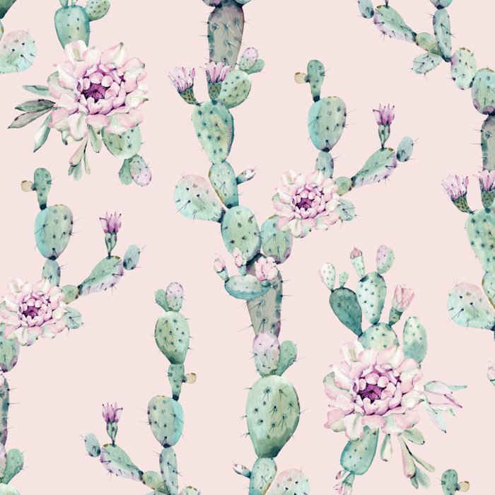 Cactus Rose Pattern on Pink Comforters