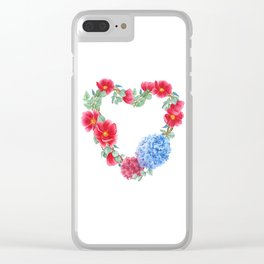 Floral wreath in heart shape Clear iPhone Case