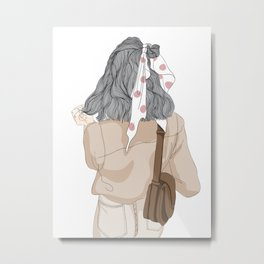 Graphic a Long Haired Woman for a Walk Graphic Metal Print