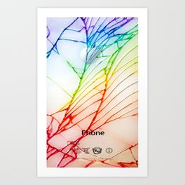 Rainbow Broken Damaged Cracked out back White iphone Art Print