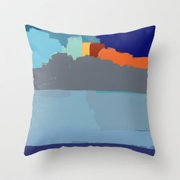 Abstract landscape French Riveria Throw Pillow