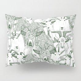 just goats dark green Pillow Sham
