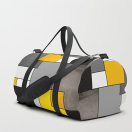 Black Yellow and Gray Geometric Art Duffle Bag