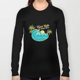 Pura Vida CostaRica Vacation Beaches Ocean Sailing Surfing Wave Boarding Gifts Long Sleeve T-shirt