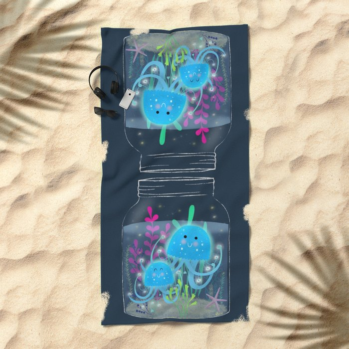 Vacation Memories With Jellyfish In A Jar Beach Towel
