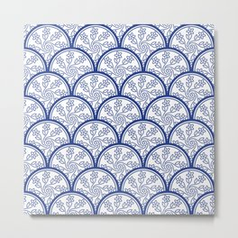 Blue and White Chinoiserie Floral Pattern Stacked Circle Scales Shapes Metal Print