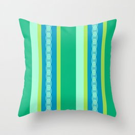 Mid-Century Awning Stripes, Jade Green and Blue Throw Pillow