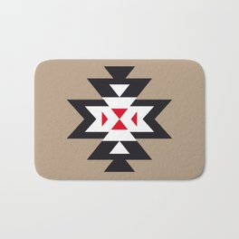 Navajo Aztec Pattern Black White Red on Light Brown Bath Mat
