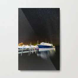 Boats under the milky way Metal Print