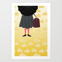 mary poppins Art Prints featuring Mary Poppins by Prelude Posters