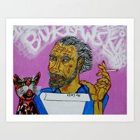 bukowski Art Prints featuring Bukowski by Pluto00Art / Robin Brennan