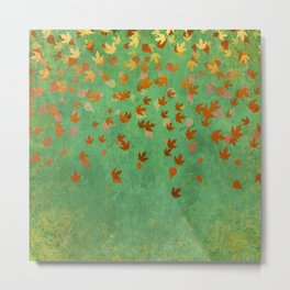 My favourite colour: OCTOBER - Indian Summer - Gold autumnal leaves Metal Print