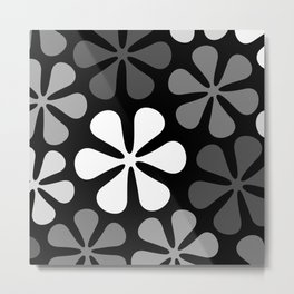Abstract Flowers Monochrome Metal Print