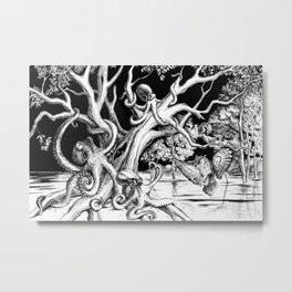 Owl's old oak is occupied by octopuses Metal Print