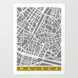 Malaga map Art Print