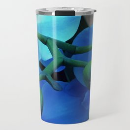 'Butterfly Winged' Violet Blue Orchids With Aqua Accents Travel Mug