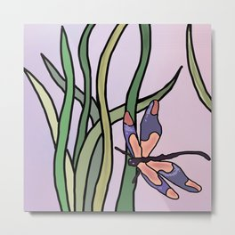dragonflies in  a pastel color background Metal Print