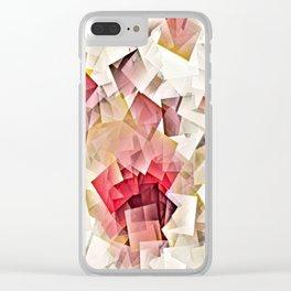 Geometric Stacks Pink Beige Clear iPhone Case
