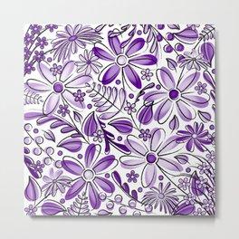 Purple and Lavender Flower Garden - Hand Drawn Vector Florals Metal Print