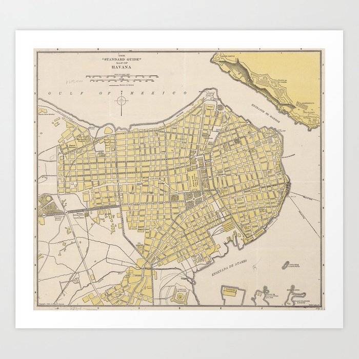 image about Printable Map of Havana known as Classic Map of Havana Cuba (1905) Artwork Print by means of bravuramedia