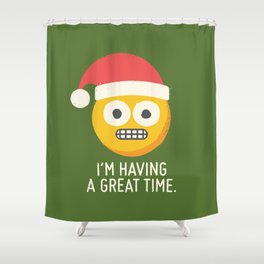 White Knuckle Christmas Shower Curtain