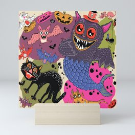 batty, catty and fishy(?!) for Halloween! Mini Art Print