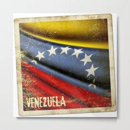 Grunge sticker of Venezuela flag Metal Print