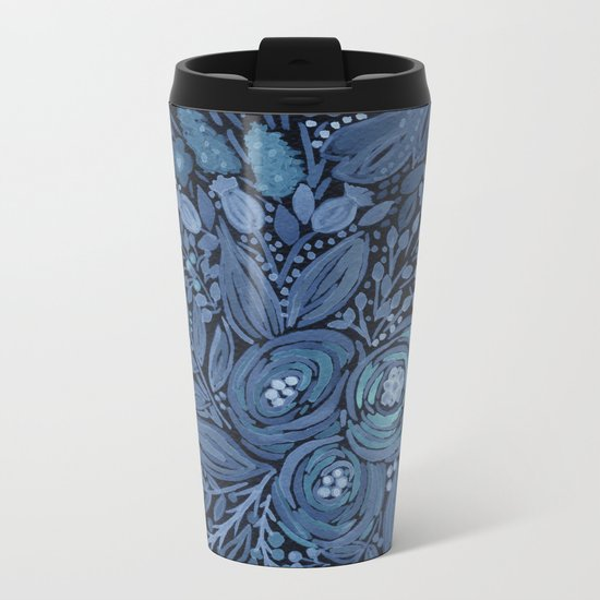 Watercolor .  Black and blue floral pattern . Metal Travel Mug