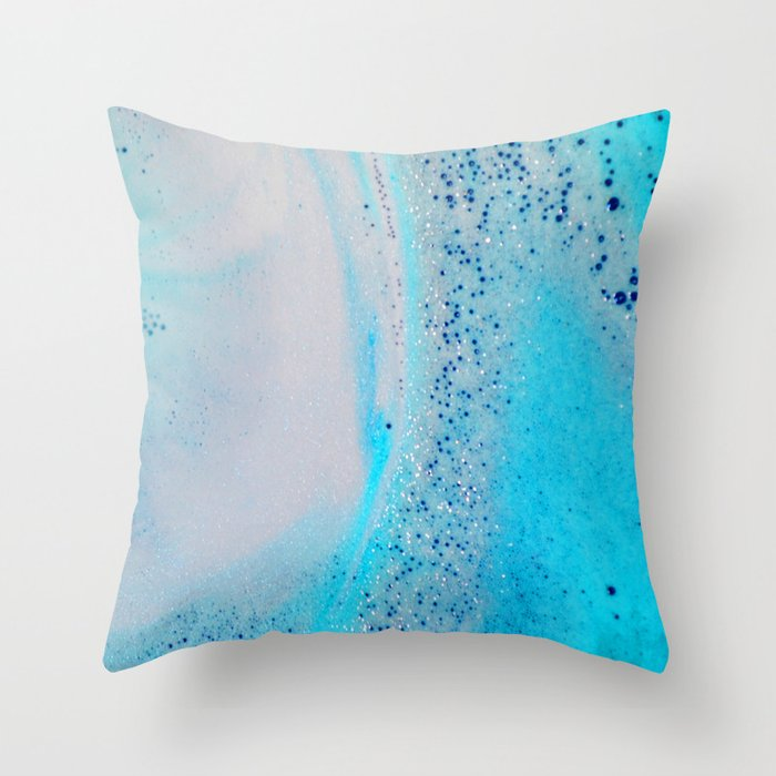 Blue Glitter  Throw Pillow