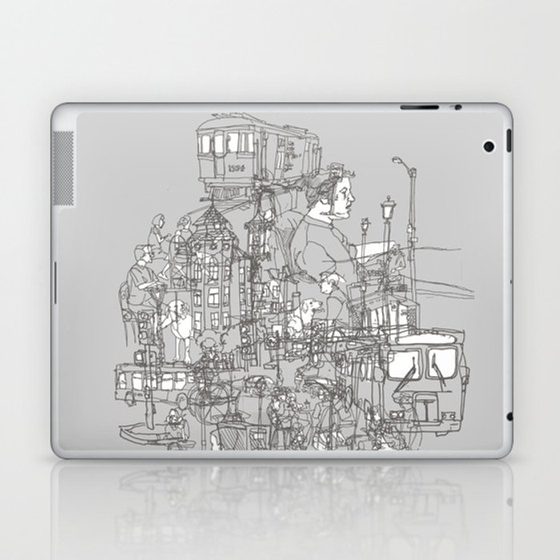 Interlocking Lives, Lines, and Transit Lanes Laptop & iPad Skin