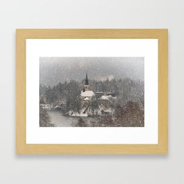 Snowy Bled Island Framed Art Print