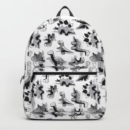 Geometric Dinos // non directional design white background grey dinosaurs shadows Backpack