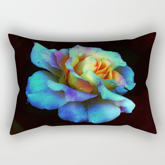 Pastel Rainbow Rose Rectangular Pillow
