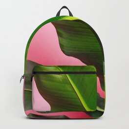 Banana Palm Leaves Pink Background Backpack