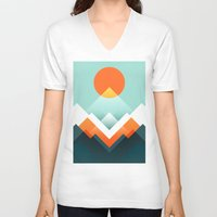 outdoor V-neck T-shirts featuring Everest by Picomodi