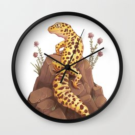 Leopard Gecko on the rocks Wall Clock