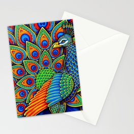 Colorful Paisley Peacock Rainbow Bird Stationery Cards